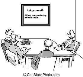 Personal Responsibility - Cartoon of business team posed...