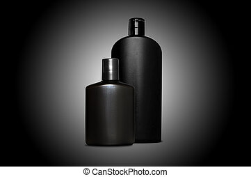 Personal skin care products for men over black - Set of two...