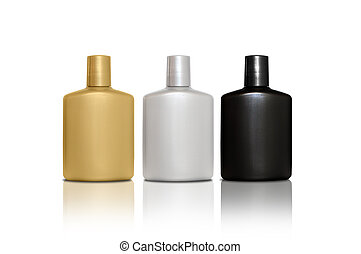 Set of three bottles of cosmetic products for men - silver, gold, black