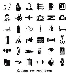 Personal trainer coach icons set, simple style