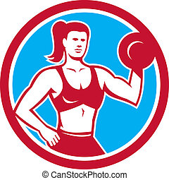 Personal Trainer Female Lifting Dumbbell Circle - ...
