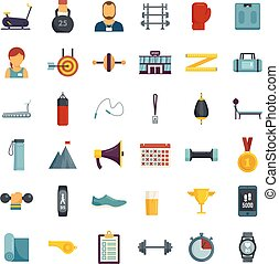 Personal trainer icons set flat vector isolated