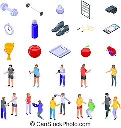 Personal trainer icons set, isometric style