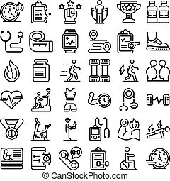 Personal trainer icons set, outline style