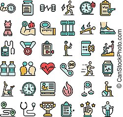 Personal trainer icons set vector flat