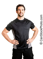 Personal Trainer - Personal trainer with is arms on his...