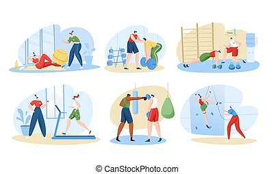 Personal trainer sport coach vector illustration set, cartoon flat active sportsman character training with fitness instructor