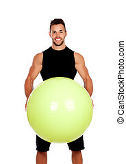 Personal trainer with a big ball