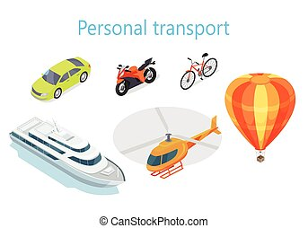 Personal Transport Infographic Statistics of Usage