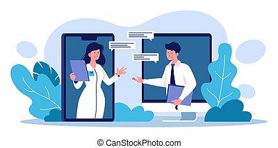 personal, vídeo, médico, vector, conferencia, ilustración