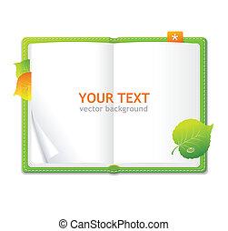 personal, vector, verde, organizador, libro abierto