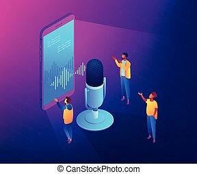 Personal voice assistant isometric 3D concept illustration.