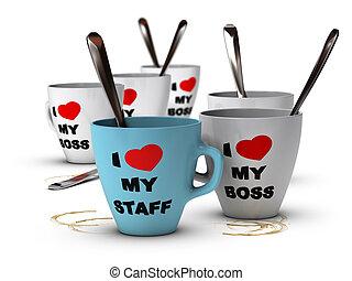 personal, workplace, förbindelser, motivering
