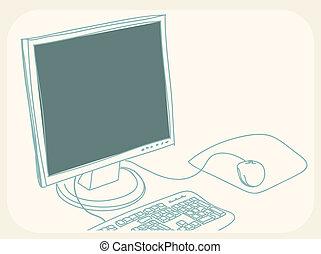 personalcomputer, zeichnung