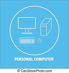 personale, fondo., computer, isolato, icona