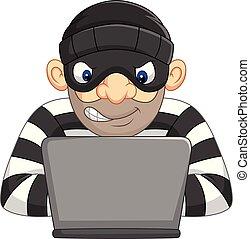 personale, ladro, rubare, informazioni, hacker, computer, maschera