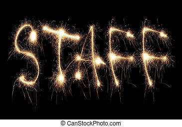 personale, parola scritta, sparkler