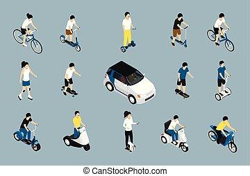 personale, trasporto, set, isometrico, icona, verde, eco