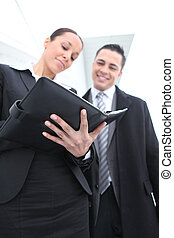 personale, usando, organizzatore, donna