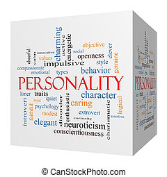 Personality 3D cube Word Cloud Concept with great terms such...