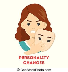 Personality changes concept. Woman hide an emotion