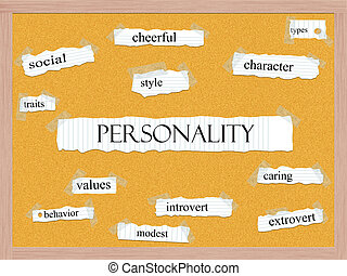 Personality Corkboard Word Concept with great terms such as...