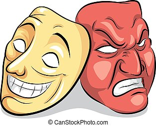 Illustration of a Pair of Masks Depicting Bipolar Disorder