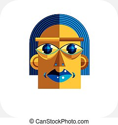 Personality face colorful vector illustration made from geometric figures. Flat design image, cubism style.