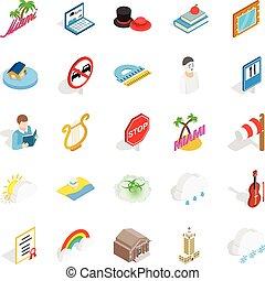 Personality icons set, isometric style
