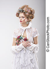 personality., luxuoso, mulher, com, flores, em, noite, traje