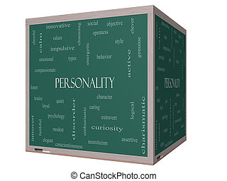 Personality Word Cloud Concept on a 3D cube Blackboard