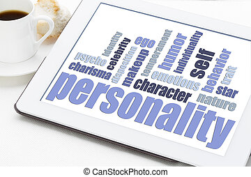personality word cloud on tablet