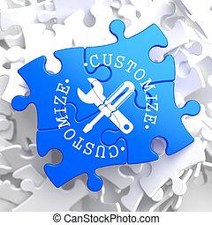 personalize, azul, conceito, puzzle.