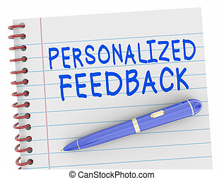Personalized Feedback Pen Words Notebook 3d Illustration