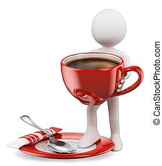 personas., 3d, blanco, taza de coffe