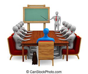 personas, 3d, grupo, reunión
