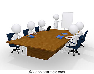 personas, aislado, grupo, reunión, 3d, blanco