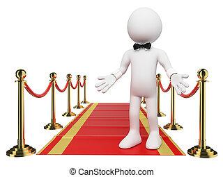 personas., bienvenida, blanco, alfombra, rojo, 3d