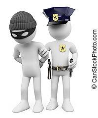personas., blanco, policía, ladrón, 3d