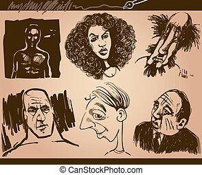 personas caras, caricatura, bosquejo, dibujos, conjunto