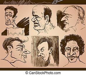 personas caras, caricatura, dibujos, conjunto
