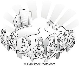 personas de ciudad, unir, suburbios
