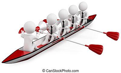 personas., deporte, trabajo en equipo, blanco, 3d