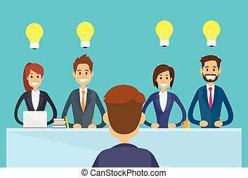 personas empresa, sentado, oficina, bombilla, luz, ...
