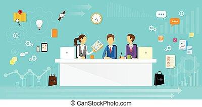 personas empresa, sentado, oficina, grupo, escritorio, plano