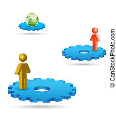 personas, global, establecimiento de una red, entre