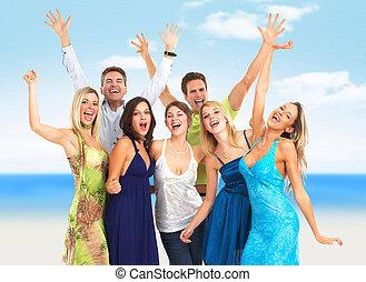 personas., grupo, feliz