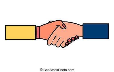 personas, hecho, trato de la corporación mercantil, manos
