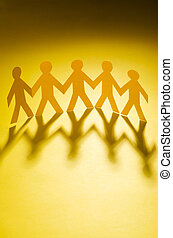 personas papel, en, teamworking, concepto
