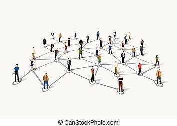personas., social, de conexión, concept., red